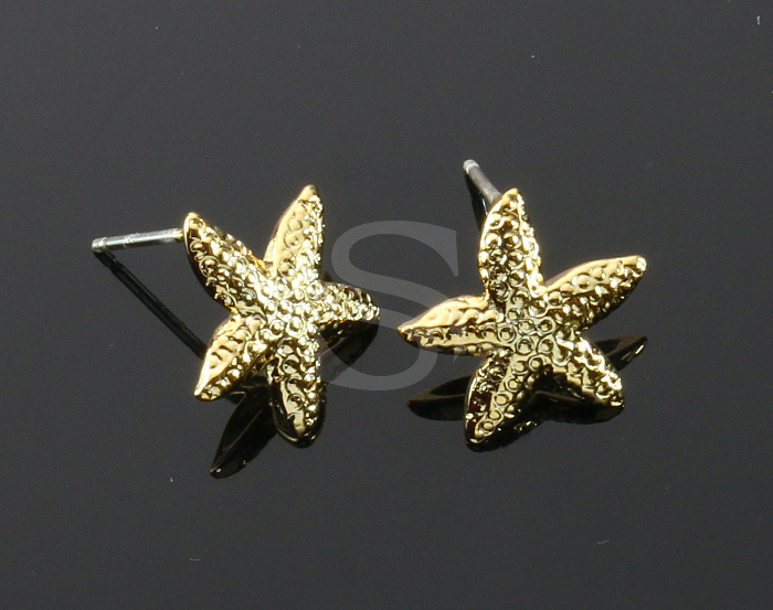 [B1940-E-G] 4 Pcs / Starfish Earring / Brass / 13.8mm