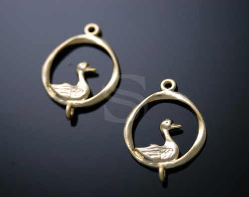 [B0194-C-MG] SALE 4 Pcs / Cute Duck in a Circle Connector / Pewter / 15mmx20mm
