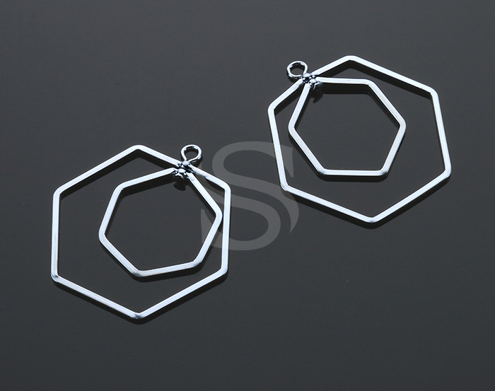[B1952-P-RF] 2 Pcs / Wire Linked Doble Hexagon Pendant / Brass / 31mm x 31mm