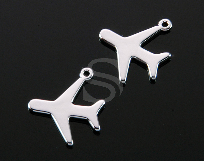 [B1958-P-RF] 4 Pcs / Airplane Charm Pendant / Brass / 13.3mm x 15mm