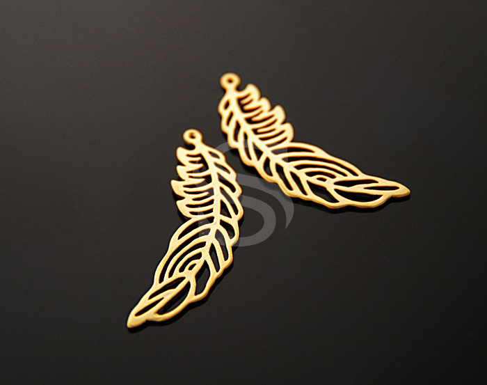 [B0196-P-MG] 4 Pcs / Unique Feather Charms with Holes / Brass / 10mmx38mm