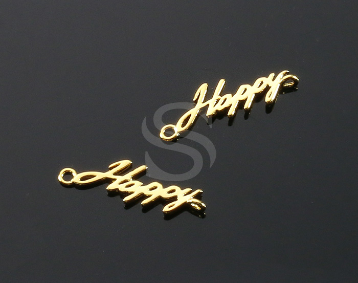 [B1983-C-G] 4 Pcs / 'Happy' Connector / Brass / 17mm x 5.5mm