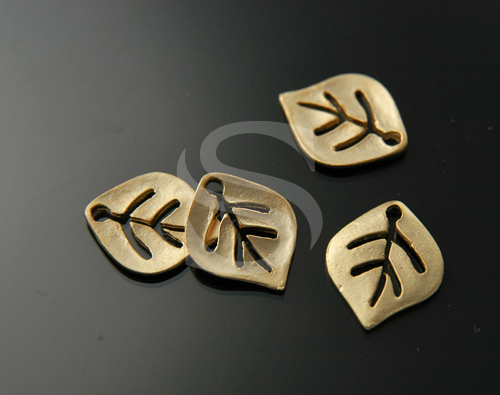 [B0200-P-MG] 6 Pcs / Simplicity Little Leaf Charms / Brass / 12mm x 14mm