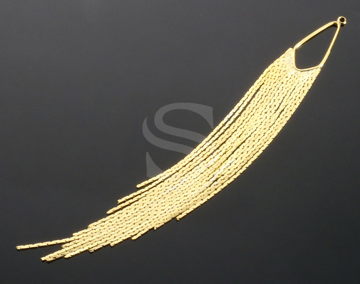 [B2034-P-G] 2 Pcs / Long Chain Tassel Pendant / Brass / 125mm x 13mm