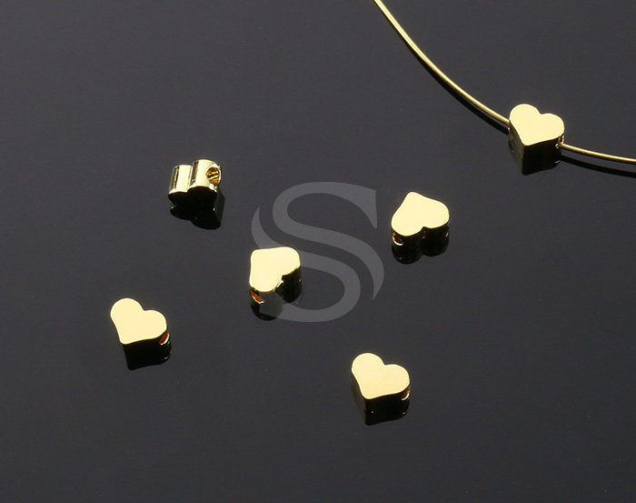 [B2037-C-G] 6 Pcs / Heart Beads / Brass / 5mm x 4mm
