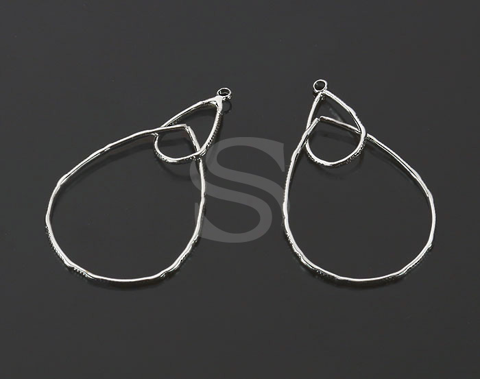 [B2040-P-ATSS] 4 Pcs / Unique Textured Double Teardrop Shaped Line Art Pendant / Brass / 20.7mm x 41.7mm