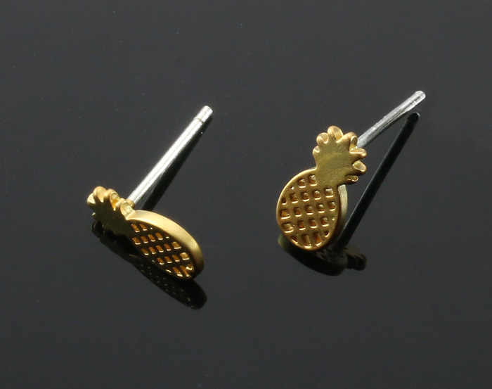 [B2049-E-MG] 4 Pcs / Pineapple Earring / Brass / 5mm x 10mm