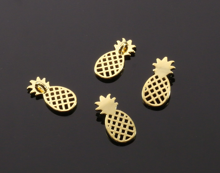 [B2049-P-G] 4 Pcs / Pineapple Pendant / Brass / 6mm x 12mm