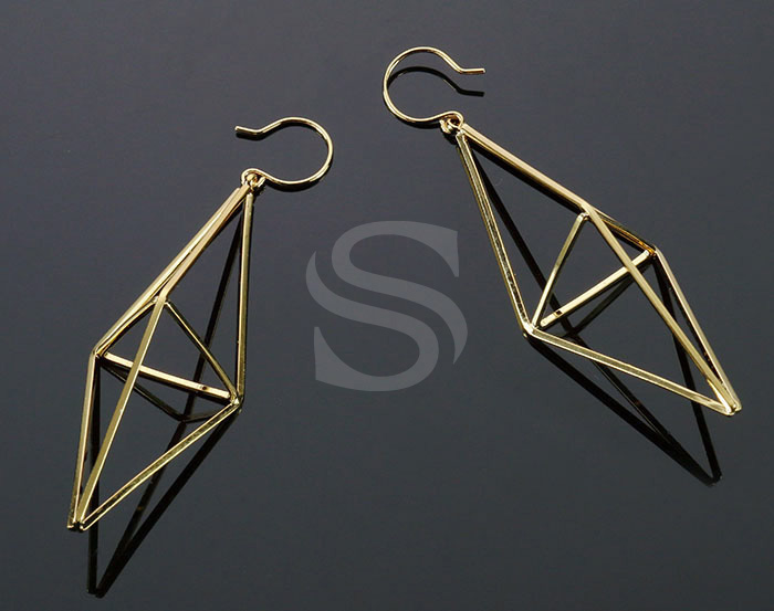 [B2120-H-G] 2 Pcs / Geometric 3D Rhombus Hook Earrings / Brass / 73.3mm x 21mm