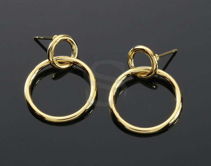 [B2136-E1-G] 2 Pcs / Double Rings Linked Earrings / Brass / 20mm x 26mm