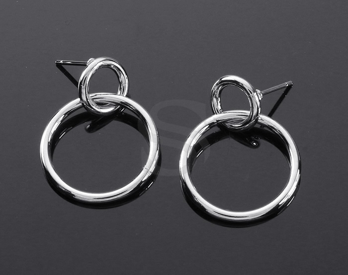 [B2136-E1-RF] 2 Pcs / Double Rings Linked Earrings / Brass / 20mm x 26m