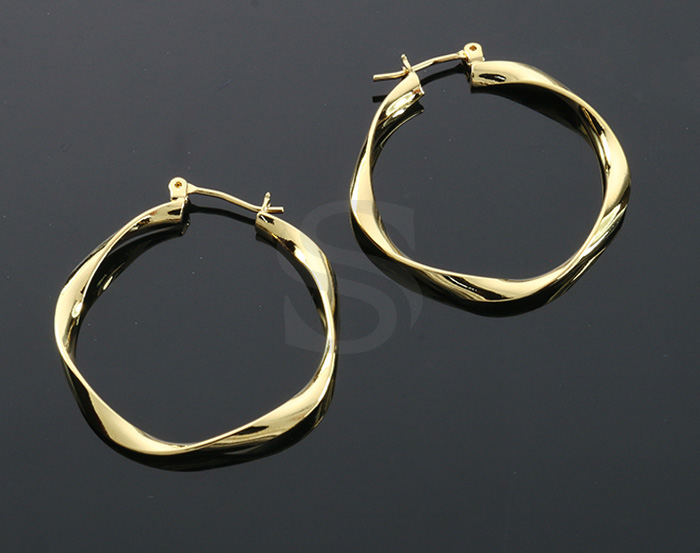 [B2140-E-31-G] 2 Pcs / Twist Hoop Earrings / Brass / 31mm