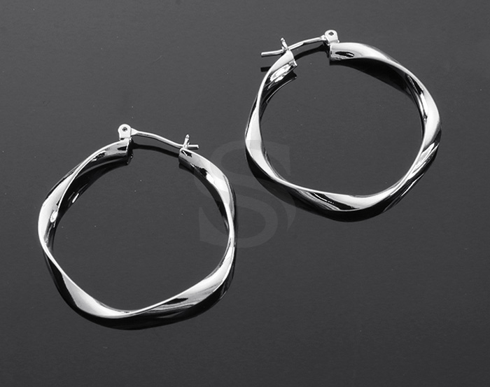 [B2140-E-31-RF] 2 Pcs / Twist Hoop Earrings / Brass / 31mm