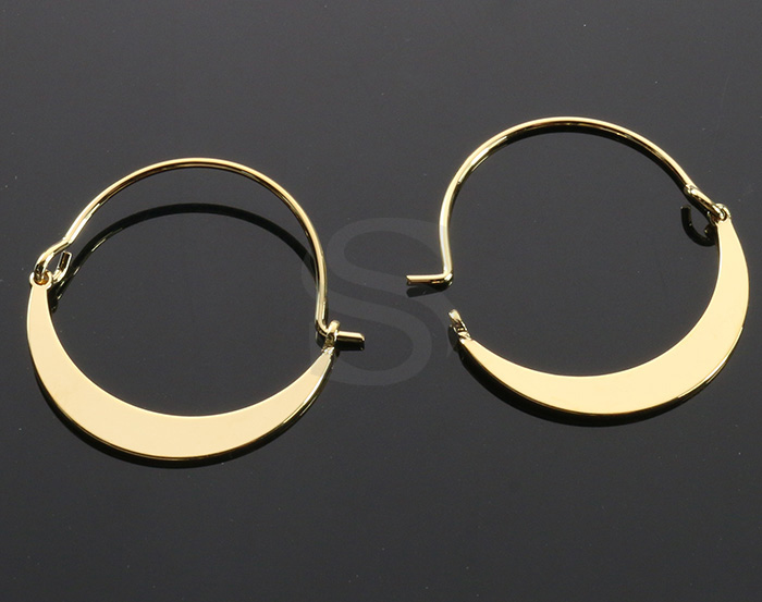 [B2147-E1-G] 2 Pcs / Crescent Moon Earring Findings / Brass / 26mm x 27mm