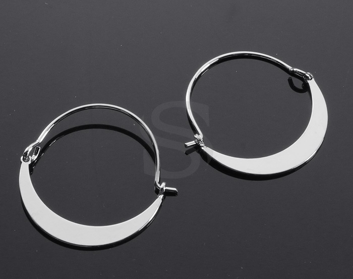 [B2147-E1-RF] 2 Pcs / Crescent Moon Earring Findings / Brass / 26mm x 27mm