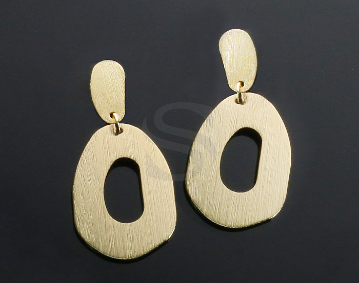 [B2155-E-G] 2 Pcs / Textured Unique Part Linked Earring / Brass / 20mm x 45mm