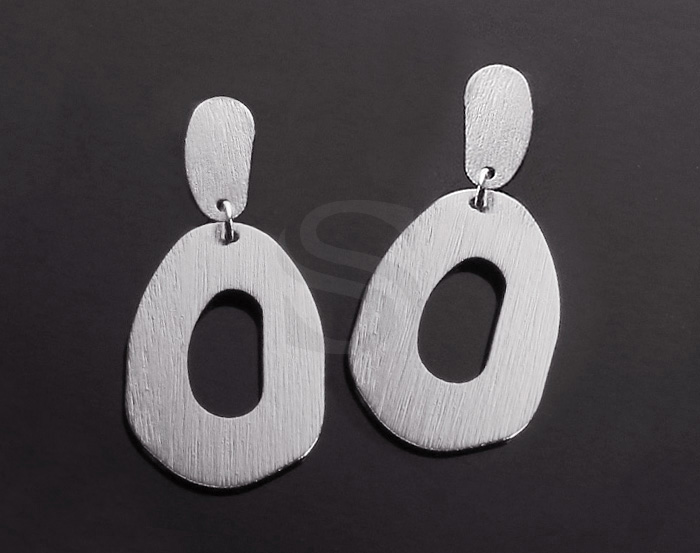 [B2155-E-RF] 2 Pcs / Textured Unique Part Linked Earring / Brass / 20mm x 4.9mm