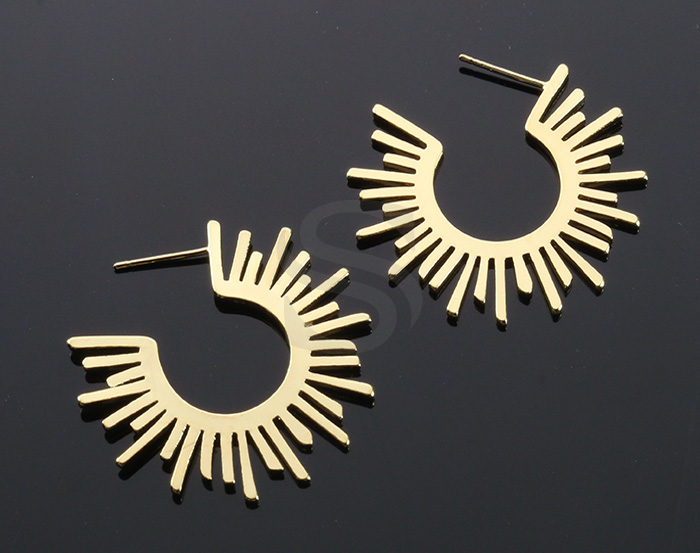 [B2156-E-G] 2 Pcs / Sun Hoop Earrings / Brass / 35mm