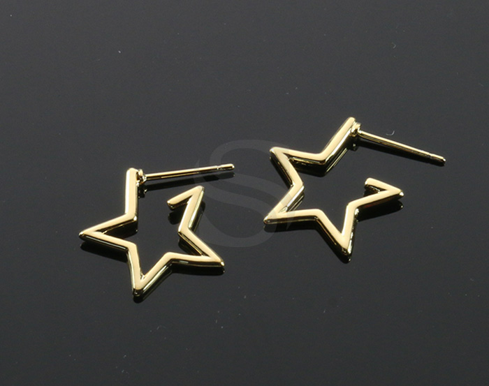 [B2157-E-G] 2 Pcs / Lined Star Stud Earrings / Brass / 16mm x 17mm