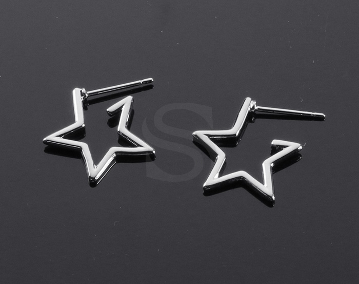 [B2157-E-RF] 2 Pcs / Lined Star Stud Earrings / Brass / 16mm x 17mm