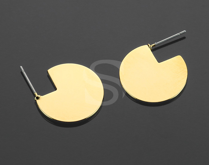 [B2166-E-G] 2 Pcs / Three Quarters Circle Stud Earrings / Brass / 18.2mm (Diameters)
