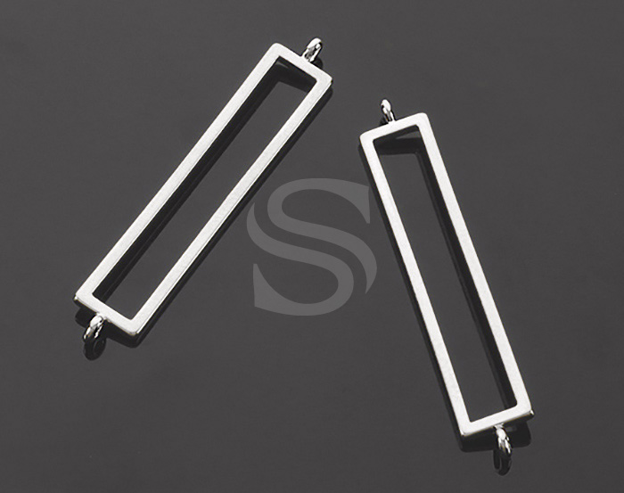 [B2170-C1-ATSS] 4 Pcs / Simple & Chic Rectangular Frame Earring Connectors / Brass / 6.1mm x 34.8mm