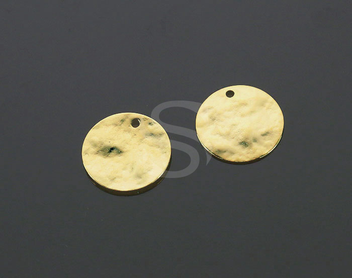 [B2188-P1-G] 6 Pcs / Hammered Disc Surface Round Coin Pendants / Brass / 15.2mm