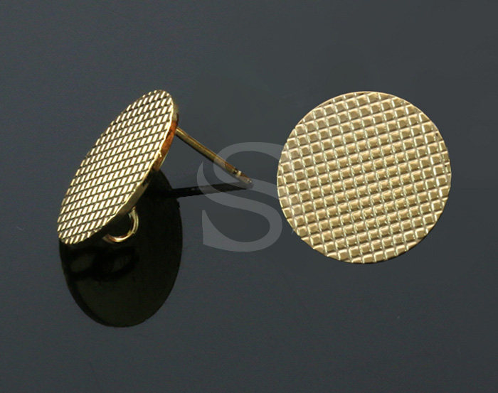 [B2200-E-G] 4 Pcs / Checkered Pattern Round Stud Earrings / Brass / 15.8mm