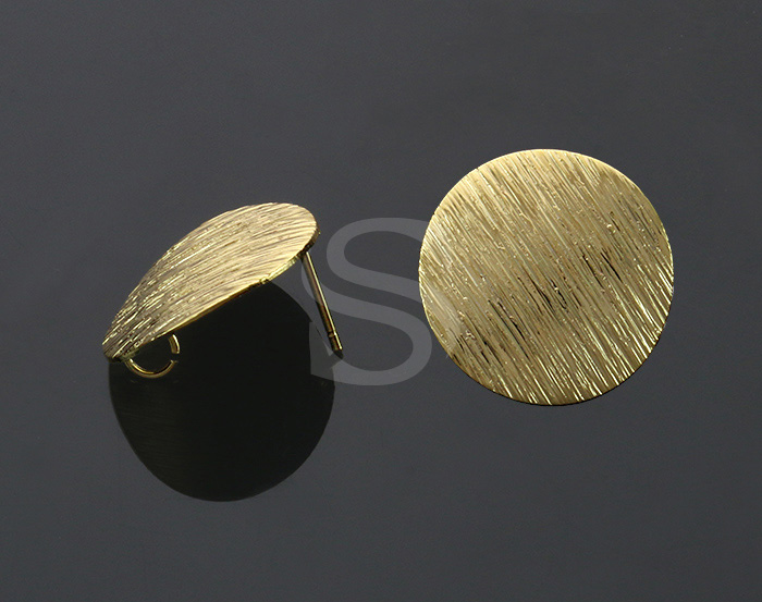 [B2202-E-G] 4 Pcs / Unique Brush Textured Circle Stud Earring Findings / Brass / 18mm