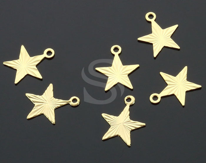[B2234-P2-G] 6 Pcs / Diamond Cut Flat Star Charm Pendant / Brass / 10.5mm x 9mm