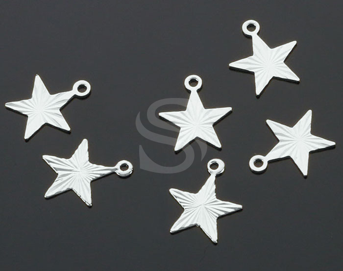 [B2234-P2-RF] 6 Pcs / Diamond Cut Flat Star Charm Pendant / Brass / 10.5mm x 9mm