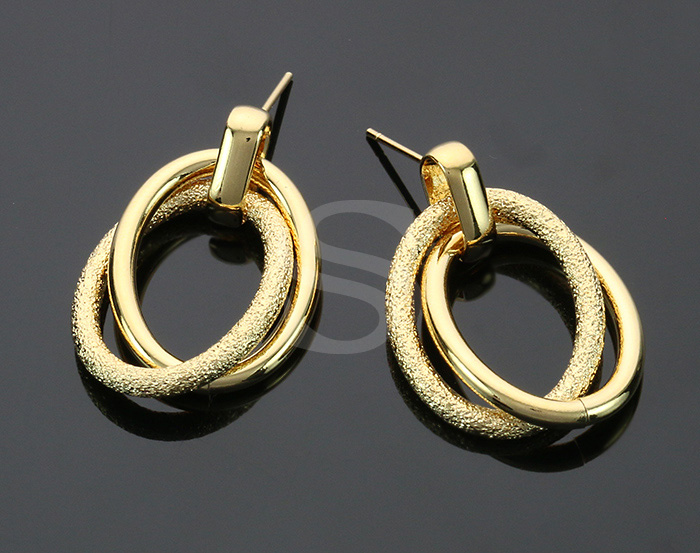 [B2250-E1-G] 2 Pcs / Double Hoop Linked Earrings / Brass / 21.5mm x 31.2mm