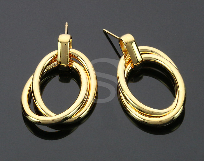 [B2250-E2-G] 2 Pcs / Double Hoop Linked Earrings / Brass / 21.5mm x 31.2mm