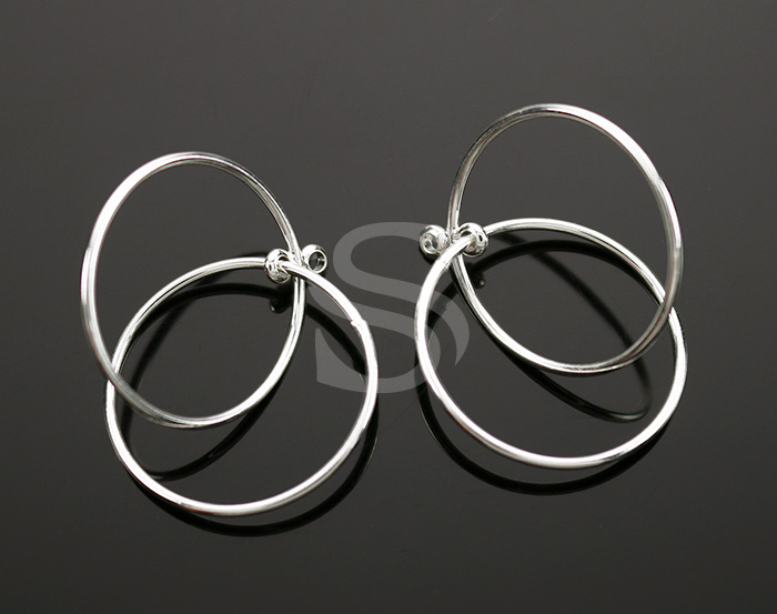 [B2287-P-ATSS] 6 Pcs / Double Linked Pipe Circle Pendant / Brass / 27.2mm x 23mm
