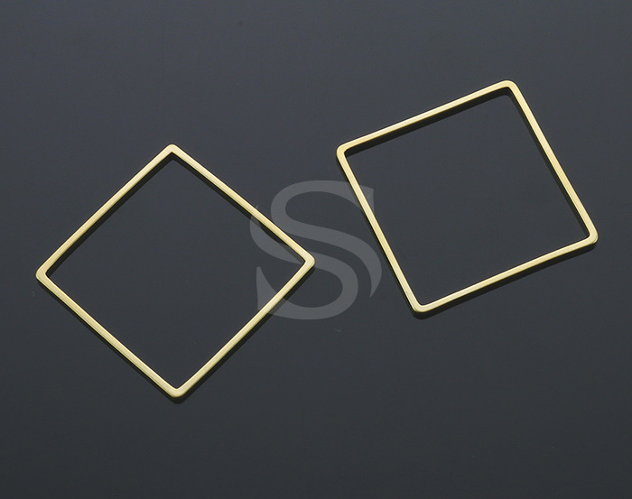[B1123-C3-MG] 6 Pcs / Hollow Center Square Frame Connector / Brass / 25mm