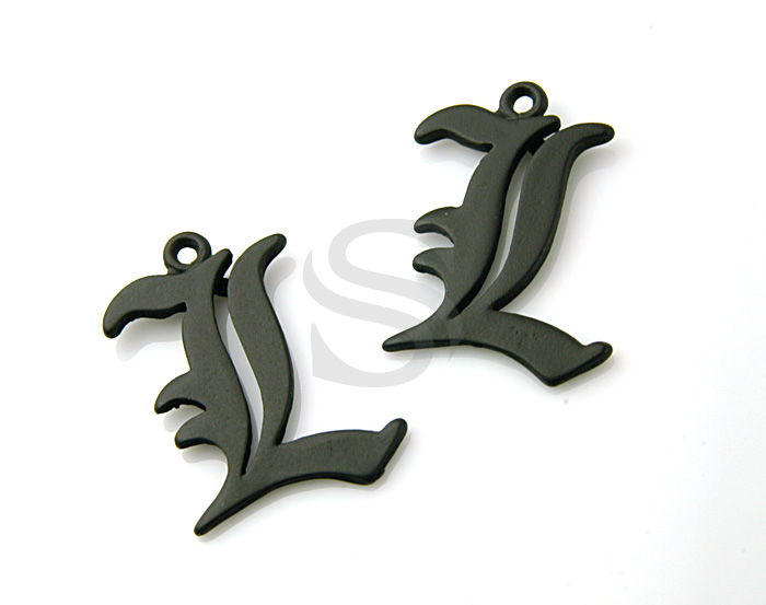 [B0285-L-MB] SALE 4 Pcs / Matte Finished Initial Letter Charms / Pewter / 19mmx18mm