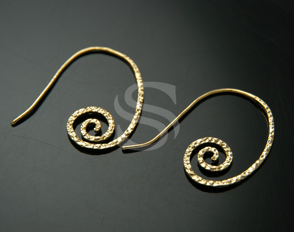 [B0298-H-G] 2 Pcs / Coiled Swirl Unique Earring Hooks / Brass / 24mm x 30mm