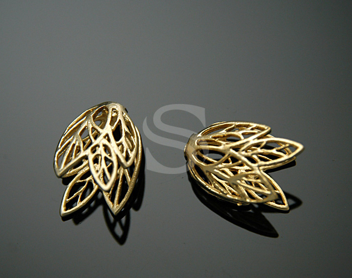 [BS0732-MG] Leaf Vein Line Detailed Beads Cap / Brass / 9mm x 14mm