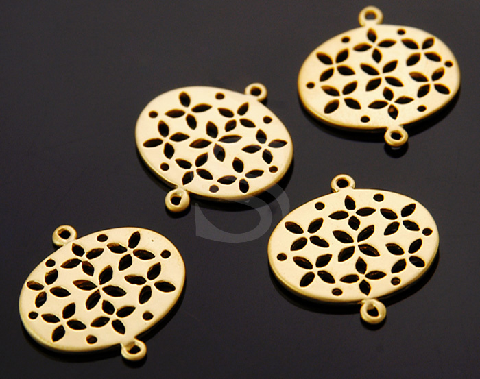 [B0448-C-MG] 4 Pcs / Lovely Flower Pattern Round Connector / Brass / 17mmx20mm