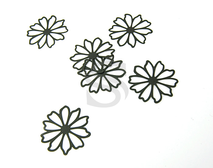 [B0038-P1-MB] Romantic Line Work Flower Pendant / Brass / 24mm x 24mm