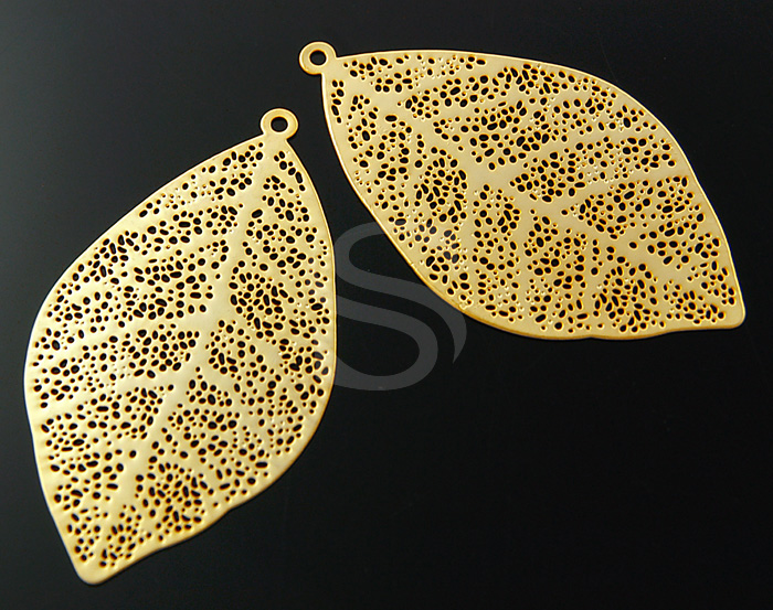 [B0025-P1-MG] 4 Pcs / Delicate Flat Leaf Vein Pendant / Brass / 25mmx45mm