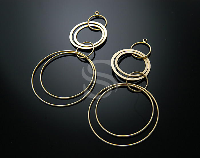 [B0465-P-MG] 2 Pcs / Elegant loop earring Pendant / Brass / 35mmkx73mm