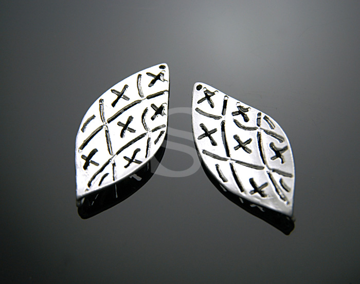 [B0473-C-MS] SALE 4 Pcs / Simple Cross Pattern Leaf Connectors / Pewter / 14.6mmx33mm