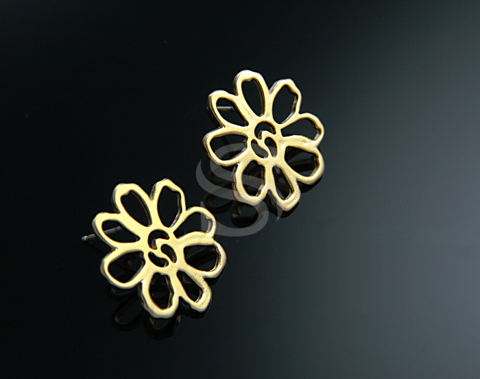 [B0480-E-MG] 2 Pcs / Simple Line Art Flower Earring / Brass / 16.7 mm x 19 mm