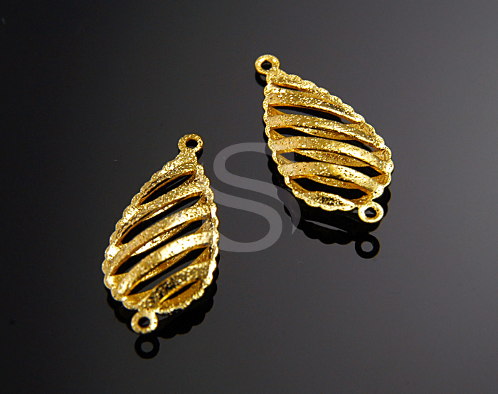 [B0489-C-G] 4 Pcs / Rough Sand Textured Striped Pattern Teardrop Connector / Brass / 9mm x 19mm
