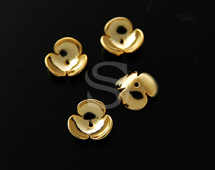 [BS0712-G] 4 Pcs / Adorable Three Petals Flower Bead Cap / Brass / 3.6mmx11mm