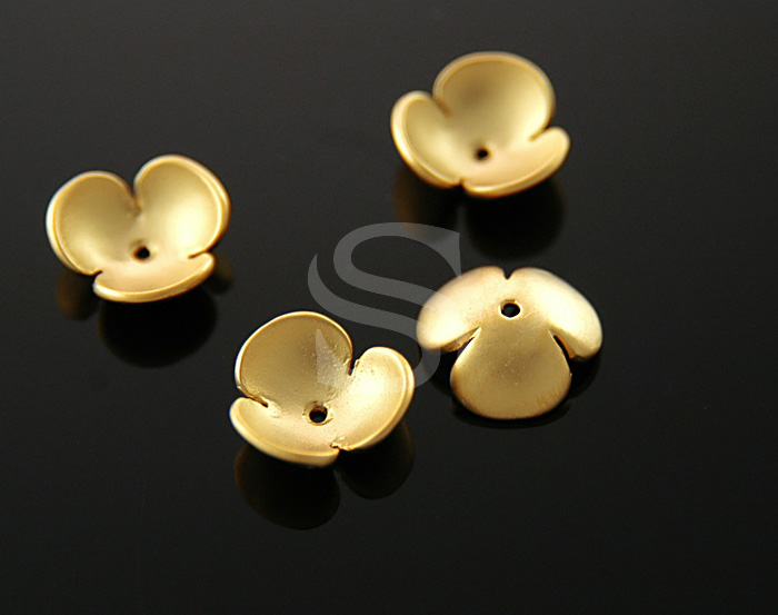 [BS0712-MG] 4 Pcs / Adorable Three Petals Flower Bead Cap / Brass / 3.6mmx11mm
