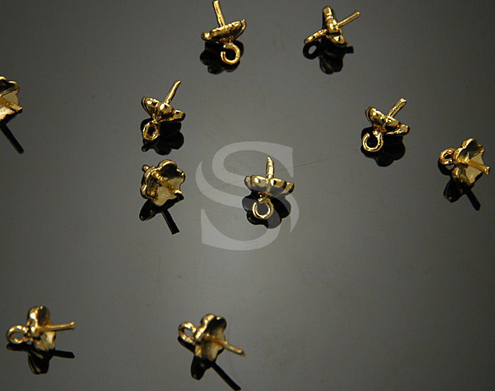 [BS0725-G] 10 Pcs / Petite Six Petals of Flower Bead Cap / Brass / 6mmx5mm