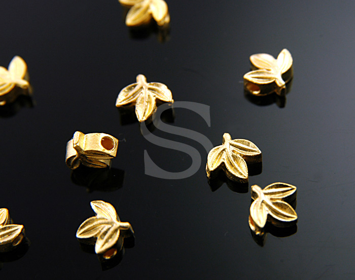 [B0565-C-MG] 10 Pcs / Petite Leaf Bead / Pewter / 9.4mmx7mm