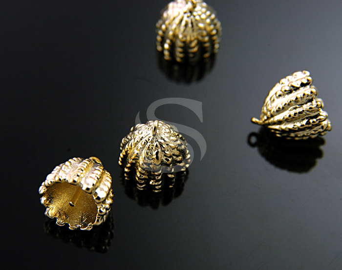 [BS0720-G] 4 pcs / Bead Caps for Half Gemstones / Brass / 10mmx11mm
